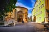 Round Building in Geneva, Switzerland (` Toshio ') Tags: toshio geneva geneve switzerland swiss oldtown oldtowngeneva street city people bicycle sky fujixt2 xt2 architecture biking fountain