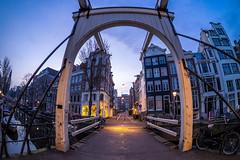 A0082001 (rpajrpaj) Tags: amsterdam city cityscape bluehour sunrise canal staalmeestersbrug bridge samyang fisheye 75mm groenburgwal samyangcsc75mmf35umcfisheyemft