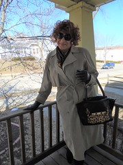 On The Porch (Laurette Victoria) Tags: porch trenchcoat gloves purse redhead curly woman laurette