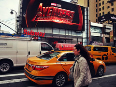 Avengers: Traffic War (Robert S. Photography) Tags: street crossing taxis people traffic signs billboard avengers city newyork manhattan sony color dscwx150 iso100 april 2018