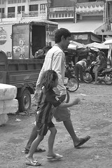 Holding hands (hasor) Tags: cambodia khmer asia southeast market kampongthmor bw monochrome