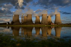 Ratcliffe on Soar (Sam Tait) Tags: power station cooling tower towers ratcliffe soar england nottingham sky clouds reflection reflections water grass landscape midlands redhill marina smoke steam industrial industry house pylon concrete