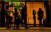 Silhouettes (Fermat48) Tags: dirtymartini cocktailbar manchester peterstreet silhouette orange glow fridaynight hardylasses canon eos 7dmarkii night dark cold
