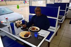 Dale Lomax at the Bluebird Diner (jjldickinson) Tags: nikond3300 102d3300 promaster52mmdigitalhdprotectionfilter topeka bluebirddiner northtopeka noto nikon1855mmf3556gvriiafsdxnikkor fastfood restaurant breakfast bacon sausage toast bread wholewheat egg biscuitsandgravy pancake dalelomax