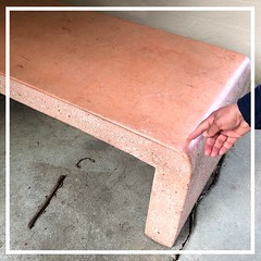 Pink Bench (Melinda Stuart) Tags: pink stone bench frame aviary hand molded seat campus uc amenity rest polished aggregate roundcorner finger