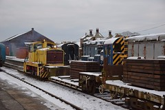 GEC Stephenson Shunter moving a couple of wagons laden with new softwood sleepers for track replacement works at Dereham. 18 03 2018 (pnb511) Tags: mnr midnorfolkrailway train engine loco locomotive diesel shunter gronk track trucks trains engines locos locomotives diesels snow class08 08754 08847