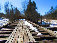 IMG_2524 3-22-2018 (PGK88) Tags: abandoned bridge railroad railway wood wooden old derelict architecture perspective outdoors snow winter 2018 365 pgk88 landscape industrial