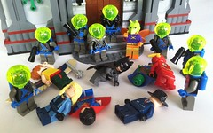 Invasion Of The Moths! (Gallisuchus (Clayface)) Tags: lego dc superheroes supervillains justice league killer gypsy moth zotaxian insectoids alien hawkgirl question custom minifigures