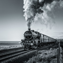 45699 Galatea out of Sellafield (Ade G) Tags: bw transport railway steam trains