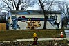 MuckRock-Nuclear Kitties (SCOTTS WORLD) Tags: adventure abandoned america architecture art artwork fun sky shadow stormy street 313 exploring exhibit brick building green grass graffiti michigan motown midwest motorcity mural kittens nuclearweapon bomb missle firehydrant outofservice whimsy detroit digital detail march 2018 outside yard tree panasonic pov perspective fence gate leaves