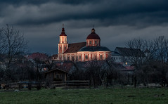 Illuminated Church (Bernd Thaller) Tags: church abbey monastery pöllau styria austria österreich evening bluehour illumination clouds village town grass sky building