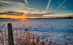 Never Ending Winter (tquist24) Tags: hdr indiana lagrangecounty nikon nikond5300 outdoor clouds cold evening farm fence geotagged rural sky snow sunburst sunset winter shipshewana unitedstates