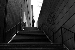 On the last step (pascalcolin1) Tags: paris13 homme man escalier marches steps stairs lumière light ombre shadows photoderue streetview urbanarte noiretblanc blackandwhite photopascalcolin 50mm canon50mm canon