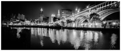 Cleveland at Night (michaelwalker19) Tags: panoramic downtownclevelandpanoramic blackandwhitecleveland blackandwhite bridges citiesatnight nightpanoramic city downtowncleveland cleveland clevelandbridges urban