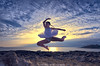 (modulationmike) Tags: ballet dance nikon pose jump sea coastal sky textures colour clouds girl female wideangle action movement legs tutu dress rocks digitalcameraclub