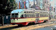 (sftrajan) Tags: muni streetcar tram trolleycar sanfrancisco 2018 tranvia edited camart elétrico tranvía tramway трамвай strasenbahn spårvagn cartoonized 17thstreet hartfordstreet