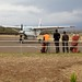 Our airplane lands at Moshi airport