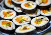 Korean sushi rolls (kimbap or gimbap) (Victor Wong (sfe-co2)) Tags: asian black bokeh carrot chinese closeup cucumber cuisine culture delicious diet dinner dish eat egg exotic fish food fresh gimbap gourmet green healthy isolated japan japanese kimbap korean lunch maki meal nobody oriental pepper plate radish raw restaurant rice roll salmon seafood seaweed snack sushi tasty traditional vegetable vegetarian white