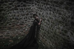 "TEATRONAURA ""The ruins of the castle"" (valeriafoglia) Tags: photography photo pretty art atmosphere fantasy colors creative composition capture castle ruins queen beautiful beauty black dress dark dakness stylist outfit model makeup"