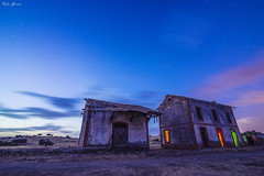The blue hour, in the color station (Peideluo) Tags: blue sky color abandoned landscape lightpainting cielo arquitectura colors