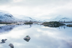 Loch na h-Achlaise. (Matthieu Robinet) Tags: a72 alpha folk glen highlands landscape loch outdoor outlander roadtrip scotland somewhere sonya7ii travel uk wanderlust winter winterscape lake frozen mirror reflexion meditation calm trees blue grey green escape imaginarymagnitude glace iced aged mystic magical lifestyle trekking walking away horizon deep snowscape snowy rocks glass cloudy