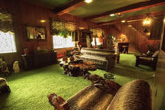 Jungle Room at Graceland - Memphis (Tennessee) (Andrea Moscato) Tags: andreamoscato america statiuniti usa unitedstates us interior interni elvis presley room stanza history historic house tourist legno wood window light luce shadow ombra vivid green brown man cave studio legendary museum
