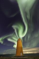 Hólmbergs Lighthouse (Kjartan Guðmundur) Tags: iceland ísland auroraborealis northernlights norðurljós nightscape nocturne ngc nightphotography stars sky lighthouse ocean clouds sigma14mmf18art canoneos5dmarkiv kjartanguðmundur