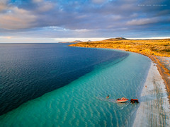 Farm Beach, South Australia (Robert Lang Photography) Tags: farmbeachsouthaustralia farmbeach southaustralia beach blue bluesky boat bay colour color coastal coast clouds horizontal holiday golden gold green ocean sea seaside seascape stock sa sky sand sun summer sandy travel tranquil tractor tow towing launch fishingboat boats boating people recreation relaxing relax sunset colourful colorful kinggeorgewhiting location spot fishingsouthaustralia fishingeyrepeninsula australia eyrepeninsula ep portlincolnsouthaustralia portlincoln robertlangphotography robertlang robertlangportlincoln robertlangaustralia wwwrobertlangcomau aerial drone