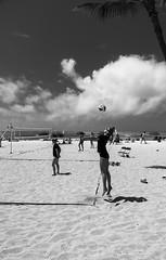 Routine sportsball photo (Guy: Jussum Guy) Tags: volleyball women practice people beach ocean clouds net ball sky monochrome blackandwhite pentax k3 oahu honolulu hawaii
