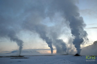 Steaming fumaroles at Hverir geothermal area (Iceland)