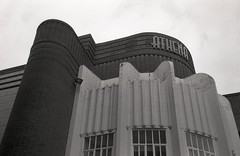 Leicester Odeon (OhDark30) Tags: olympus 35rc 35 rc 35mm film monochrome bw blackandwhite bwfp fomapan 200 rodinal leicester odeon building former cinema modernist architecture fins brick windows 20thcentury streamlinemoderne athena artdeco