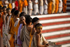 "Novice Monks Line Up For Morning Rituals In Varanasi (El-Branden Brazil) Tags: varanasi india indian ganges ganga ceremony hindu hinduism asian asia sacred holy mystical ""south asia"" sadhu"