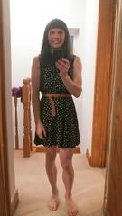 Bare footed chick (x_Bryony89_x) Tags: cd tv tg crossdress crossdressing crossdresser dark patterned dress bare feet belt makeup wig shaved legs selfie mirror