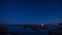 Boön (tonyguest) Tags: boön iss karlshamn blekinge sverige sweden tonyguest stockholm sea rocks night shot sky stars trail blue water dusk iridiumflare