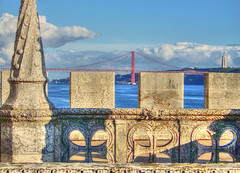 Ponte 25 de Abril (albyn.davis) Tags: lisbon belem tower fort bridge water river blue color portugal travel
