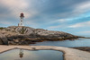 Peggy's cove, Nova Scotia at sunrise (angie_1964) Tags: peggyscove novascotia ns sunrise reflection clouds rock lighthouse sky nature landscape seascape