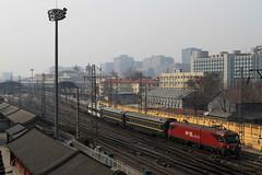 I_B_IMG_8792 (florian_grupp) Tags: asia china locomotive train railway railroad passenger diesel electric beijing station citywall beijingmainstation chaoyang peking cnr chinanationalrailway traffic bluesky