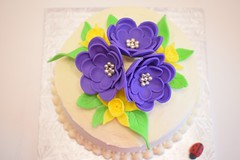 Spring Flower Cake (ladybugdiscovery) Tags: spring flower cake chocolate purple yellow green buttercream treat birthday