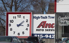Andy's Auto Service (yooperann) Tags: sign high tech towing andys auto service clock morris grundy county illinois