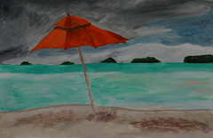 Mom's Red Umbrella (BKHagar *Kim*) Tags: bkhagar artday art painting paint acrylic umbrella red ocean sea shore water beach moms bjhardage
