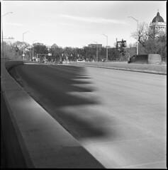 shadow stairs - Explored! 4/2/2018 (MarekSokal) Tags: mareksokal winnipeg osbornevillage bridge legislativebuilding bw blackandwhite hasselblad 500cm ilford panf monochrome