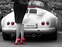 La belle autO ! (normamisslegs) Tags: voiture car auto gpo france beautiful carrosserie curve curves courbes belle heels red shoes stockings stocking nylon basnylon bascouture ff fullyfashioned soyeux doux deniers nyloncristal glamour rétro vintage black dress love fashion