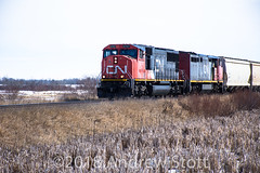 Not sure which train this is (awstott) Tags: 5747 c408m canadiannationalrailway sd75i cnr alberta 2451 electromotivedivision cn locomotive emd generalelectric train ge holden canada ca