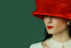 Her First Glimpse Of You (coollessons2004) Tags: eye glimpse look woman evocative red hat lips beauty beautiful