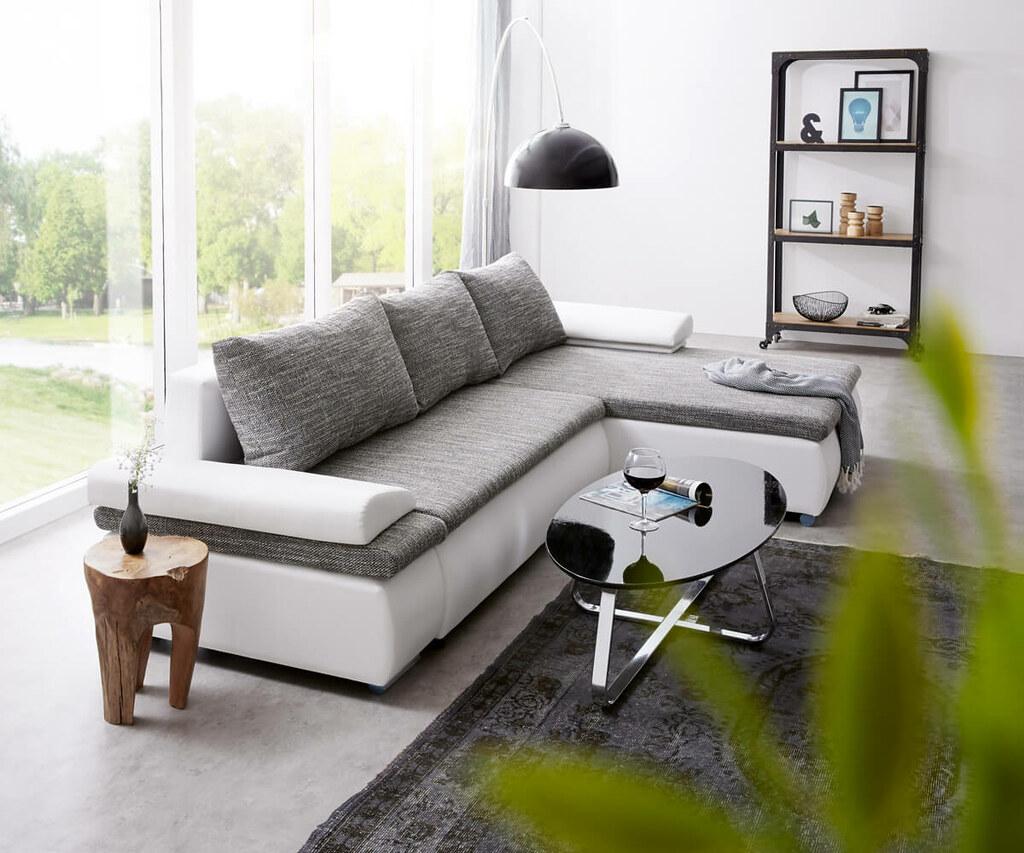 Sympathisch Couch Polster Ideen Von Ecksofa Gitano 300x175 Cm Hellgrau Weiss Schlaffunktion