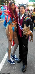 Dr. Takeshi Yamada and Seara (Coney Island sea rabbit). Brooklyn, New York.  20170904 Labor Day Parade, DSCN2479=p2030C1 (searabbit25) Tags: takeshiyamada over600artexhibitions overadozenmuseumcollections famous japanese japaneseamerican artist osaka tokyo japan tv painting sculpture photography graphicdesign sideshow freakshow banner gaff performance fashiondesign fashion tophat jewelrydesign ictorian gothic steampunk fashiondesigner roguetaxidermist taxidermist taxidermy specialeffect mica mfadegree cabinetofcuriosities dimemuseum seara searabbit coneyislandsearabbit mythiccreature cryptozoology cryptid brooklyn newyorkcity nyc newyork america usa happy
