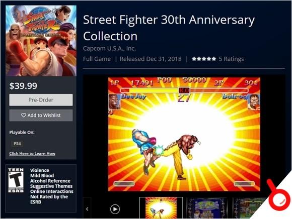《街頭霸王30周年紀念合集》5月29日發售 預購送《終極街霸4》