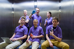 Capstone Team with Swagger (aaronrhawkins) Tags: students engineering capstone electrical mechanical byu brighamyounguniversity college university senior project clyde building elevator engineer design confident tools freight purple aaronhawkins