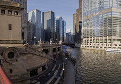 Windy City River Walk (player_pleasure) Tags: chicago chicagoist river riverwalk trumptower skyline skyscraper morning downtown cold