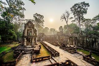 Preah Khan temple at sunrise, Cambodia